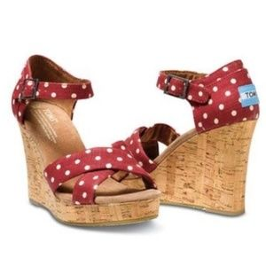 Toms Retro Style Red Polka Dot Wedges 8